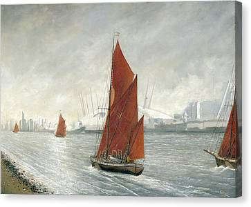 Thames Barges Passing The 02 Arena London Canvas Print