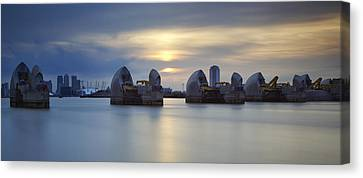 Thames Barrier Panorama II Canvas Print by Matthew Train