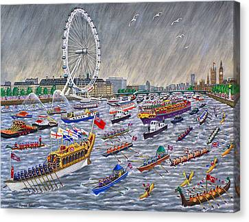 Thames Diamond Jubilee Pageant  Canvas Print by Ronald Haber