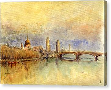 Thames London Canvas Print by Juan  Bosco