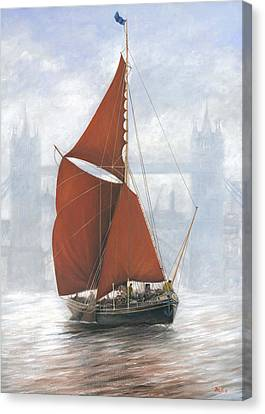 Thames Sailing Barge By Tower Bridge London Canvas Print