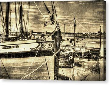 Thames Sailing Barges Vintage Canvas Print by David Pyatt