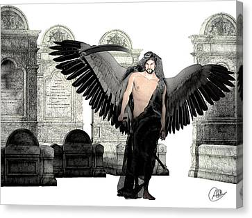 Thanatos God Of Death Canvas Print by Quim Abella