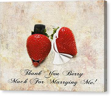 Thank You Berry Much For Marrying Me Canvas Print