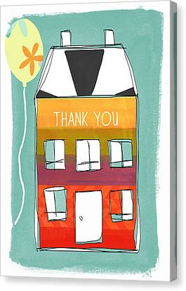 Thank Canvas Print - Thank You Card by Linda Woods