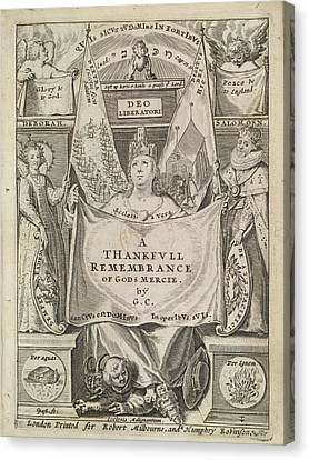Thankful Remembrance Canvas Print by British Library