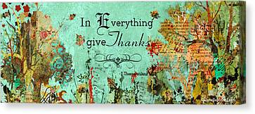 Thanksgiving Autumn Themed Inspirational Plaque Canvas Print by Janelle Nichol