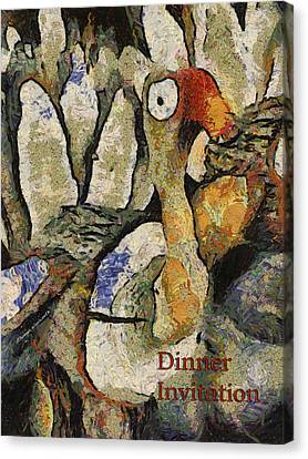Dinner Party Invitation Canvas Print - Thanksgiving Dinner Invitation Pa by Thomas Woolworth