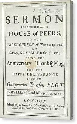 Thanksgiving Sermon Canvas Print by British Library