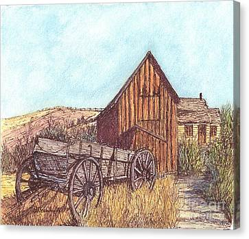 Old Cabins Canvas Print - That Which Once Was by Carol Wisniewski