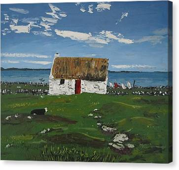 Thatch Cottage Ballyconneelly Connemara Ireland Canvas Print by Diana Shephard