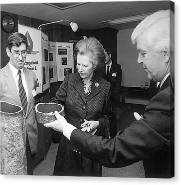 Thatcher At Health And Safety Site Canvas Print