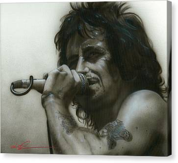 Bon Scott - ' That's How It Goes Playing In A Band ' Canvas Print by Christian Chapman Art