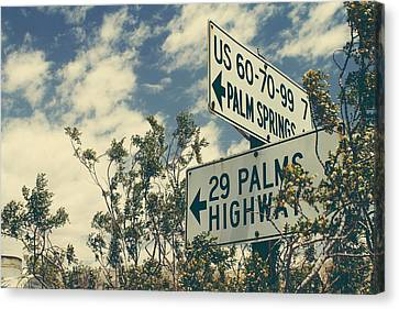 Road Sign Canvas Print - Thattaway by Laurie Search