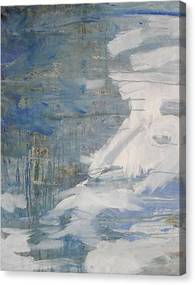 Canvas Print featuring the painting Thaw Water Ice Abstraction by John Fish
