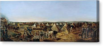 Pitching Canvas Print - The 10th Regiment Of Dragoons Arriving by A.E. Eglington