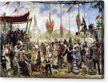 The 14th July 1880, 1882 Oil On Canvas Canvas Print by Alfred Roll