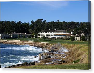 Crashing Canvas Print - The 18th At Pebble Beach by Barbara Snyder