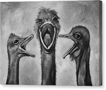 Emu Canvas Print - The 3 Tenors Bw by Leah Saulnier The Painting Maniac