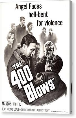 1950s Poster Art Canvas Print - The 400 Blows, Aka Les Quatre Cents by Everett
