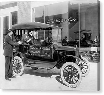 The 4,999,999 Ford Produced Canvas Print by Underwood Archives