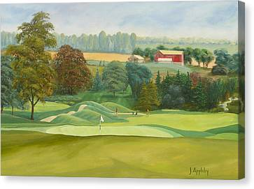 Canvas Print featuring the painting The 9th by Jo Appleby