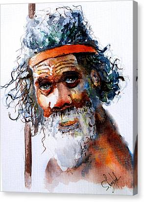 Canvas Print featuring the painting The Aborigine by Steven Ponsford
