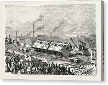 The Accident To The Flying Scotchman, Near Sheffield Canvas Print by English School