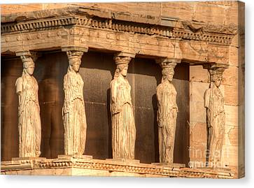 The Acropolis Caryatids Canvas Print by Deborah Smolinske