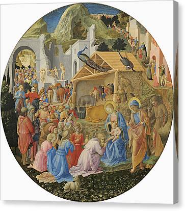 Nativity Canvas Print - The Adoration Of The Magi, C.1440-60 Tempera On Panel by Fra Angelico