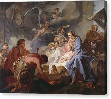 The Adoration Of The Shepherds Canvas Print by Jean Baptiste Marie Pierre