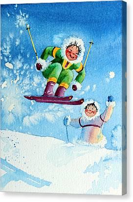 The Aerial Skier - 10 Canvas Print by Hanne Lore Koehler
