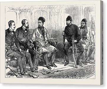 The Afghan War Negotiating Peace With Yakoob Khan At Hashim Canvas Print by English School