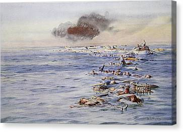The Aftermath Of The Lusitania Canvas Print by William Lionel Wyllie