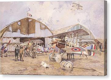 The Airfield, 1918 Wc On Paper Canvas Print by Francois Flameng