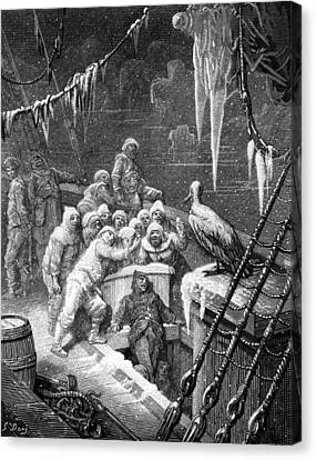 The Albatross Being Fed By The Sailors On The The Ship Marooned In The Frozen Seas Of Antartica Canvas Print by Gustave Dore