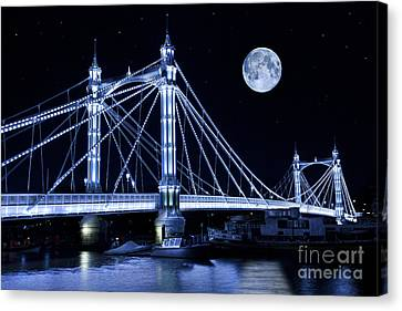 The Albert Bridge And The Moon Canvas Print by Simon Kayne