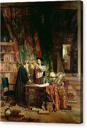 Flask Canvas Print - The Alchemist, 1853 by William Fettes Douglas