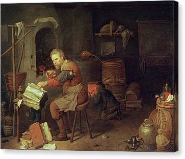 Apprentice Canvas Print - The Alchemists Workshop by David III Ryckaert
