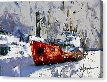 The Alexander Henry In Winter Canvas Print by Jim Vance