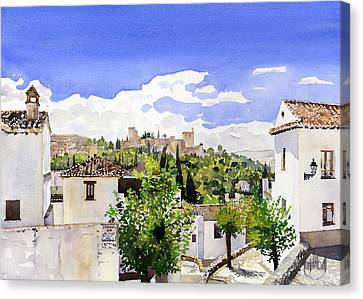The Alhambra From The Albaicin Canvas Print by Margaret Merry