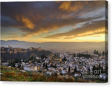 Alhambra Canvas Print - The Alhambra Granada And Albaicin At Sunset by Guido Montanes Castillo