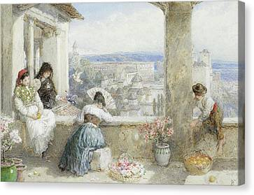 The Alhambra Granada Spain Canvas Print by Myles Birket Foster