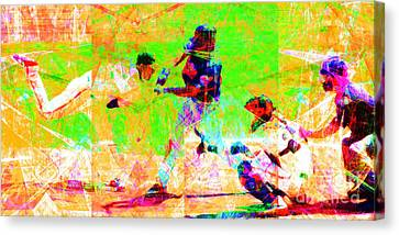 New York Baseball Parks Canvas Print - The All American Pastime 20140501 Long by Wingsdomain Art and Photography