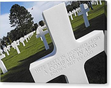 The American Cemetary In Normandy Canvas Print by Doug Davidson