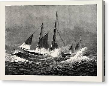 Stormy Weather Canvas Print - The American Fisheries Question, Fishing Schooner Icing by American School