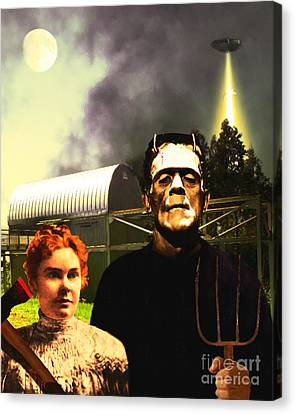 The American Gothic Abduction Of Frank And Liz By Visitors From Mars Dsc912 Canvas Print
