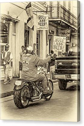 The American Way - Harleys Pickups And Huge Ass Beers - Sepia Canvas Print