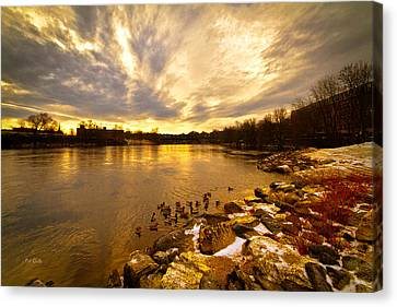 The Androscoggin River Between Lewiston And Auburn Canvas Print