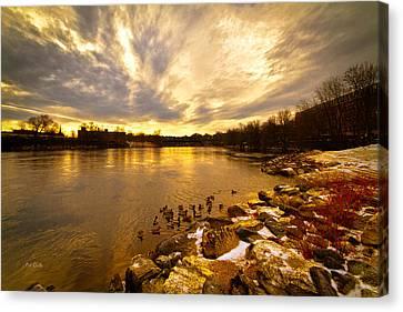 The Androscoggin River Between Lewiston And Auburn Canvas Print by Bob Orsillo